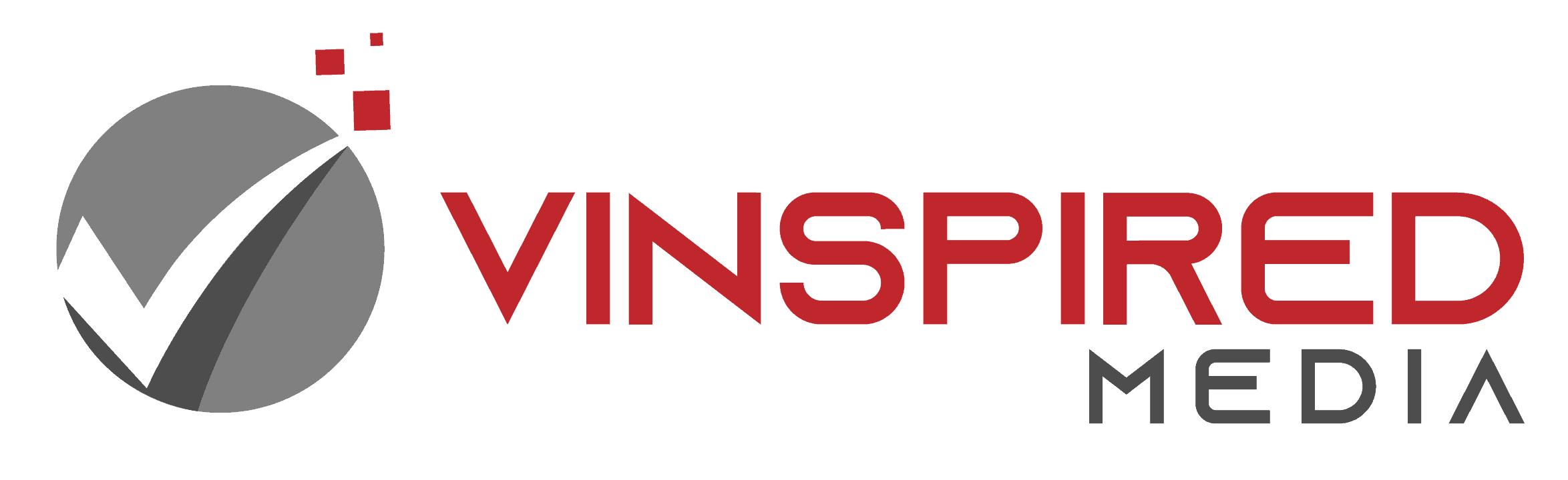 vinspired media logo with digital check mark icon